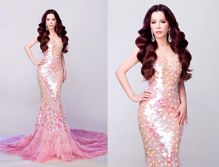 Oanh Lê chọn trang phục dạ hội NTK Lê Thanh Hòa tại Mrs International World 2019