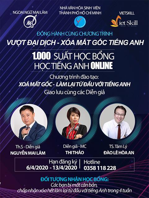 Diễn giả MC Thi Thảo đồng hành cùng Th.s Nguyễn Mai Lâm và Tiến sỹ tâm lý Đào Lê Hòa An trao 1000 học bổng tiếng anh trong dịp Covid19